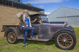 And this shot of Denise on the side of an old fashioned car. I like the way the owner haven't bothered to renovate...you see the remnants of the original finish.