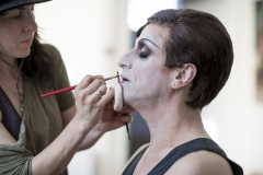 Paul Capsis in make-up with Mariel McClory (MUA)